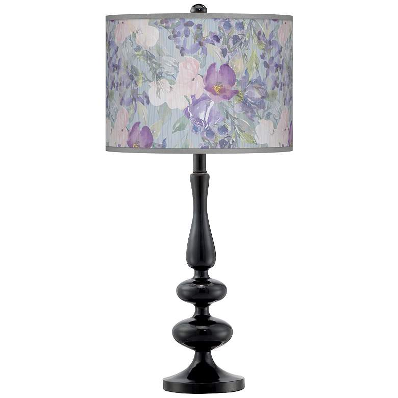 Spring Flowers Giclee Paley Black Table Lamp