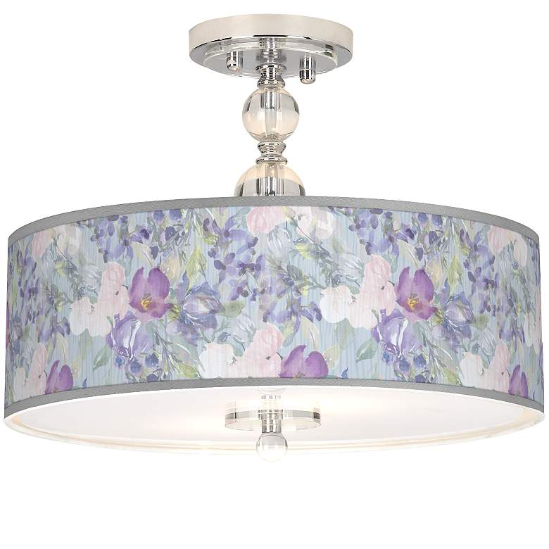 """Spring Flowers Giclee 16"""" Wide Semi-Flush Ceiling Light"""