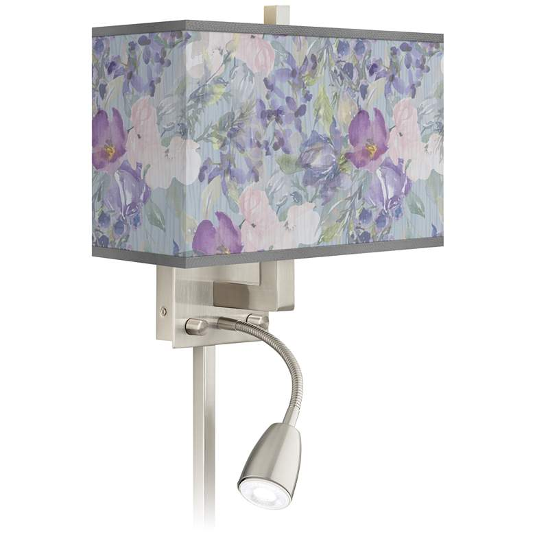 Spring Flowers Giclee Glow LED Reading Light Plug-In Sconce