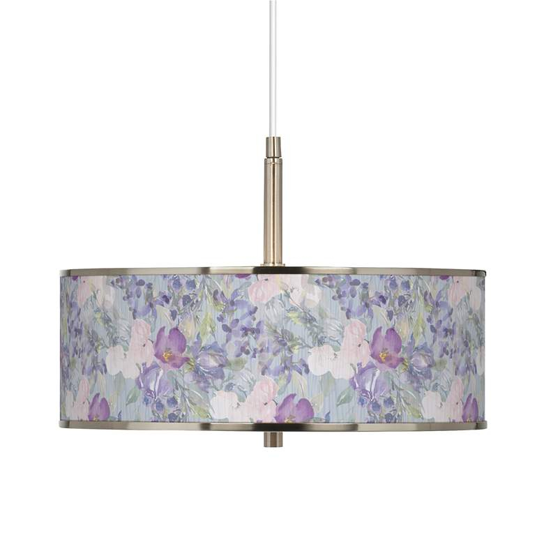 """Spring Flowers Giclee Glow 16"""" Wide Pendant Light"""