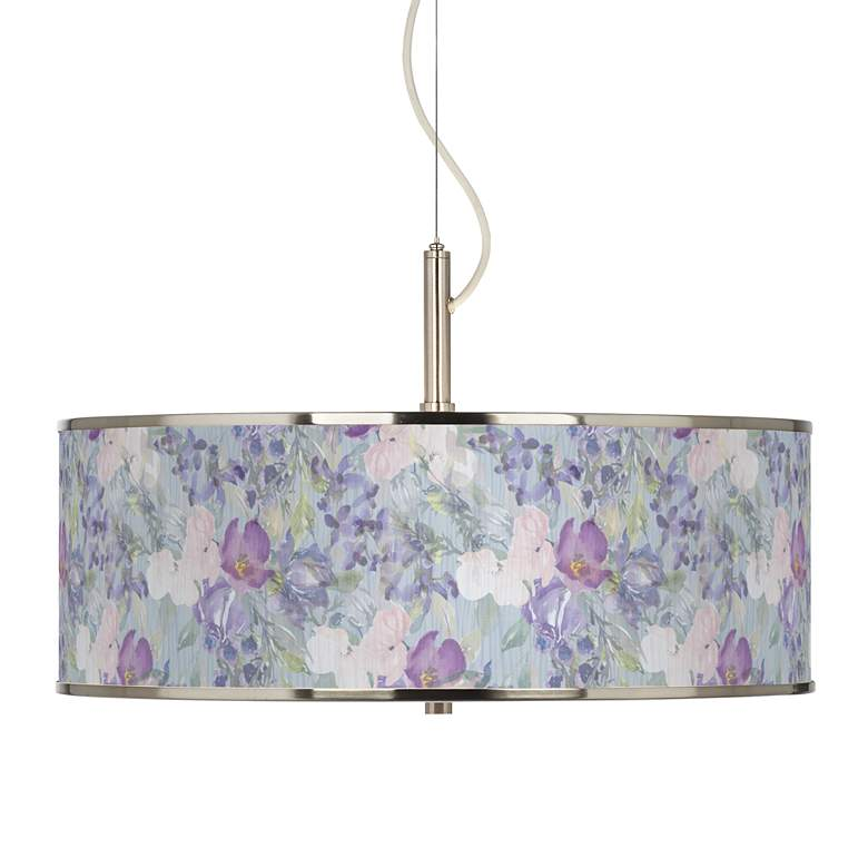 """Spring Flowers Giclee Glow 20"""" Wide Pendant Light"""