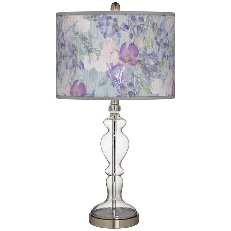 Spring Flowers Giclee Apothecary Clear Glass Table Lamp