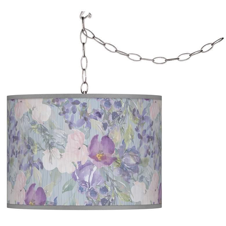 Spring Flowers Giclee Glow Plug-In Swag Pendant