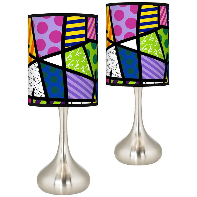Romero Britto Abstract Giclee Droplet Table Lamps Set of 2