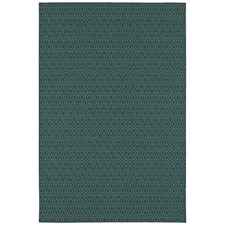 """Meridian 1634Q 5'3""""x7'6"""" Navy and Green Outdoor Area Rug"""