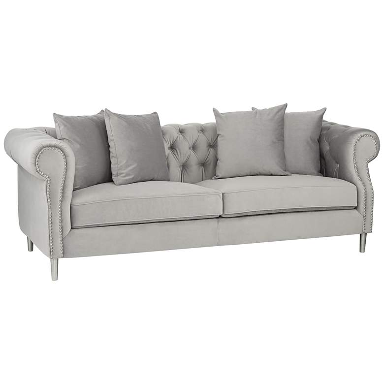 """Arvada 86 1/2"""" Wide Sky Gray Sofa with Pillows"""