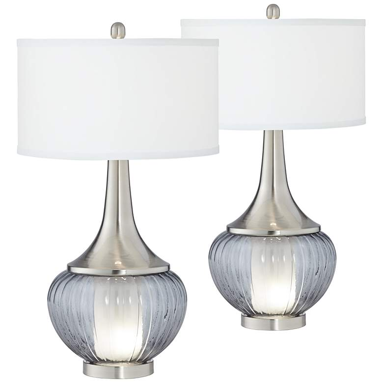 Courtney Metal and Glass Night Light Table Lamps Set of 2