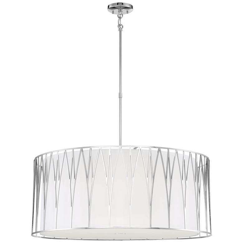 "Regal Terrace 32""W Polished Nickel LED Drum Pendant Light"