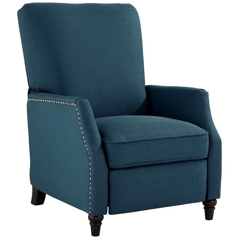 Katy Blue Linen Push Back Recliner Chair