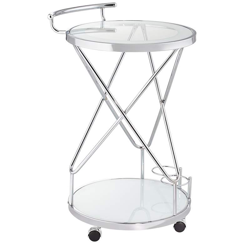 """Page 29 1/2"""" High Glass and Chrome Rolling Serving Bar Cart"""