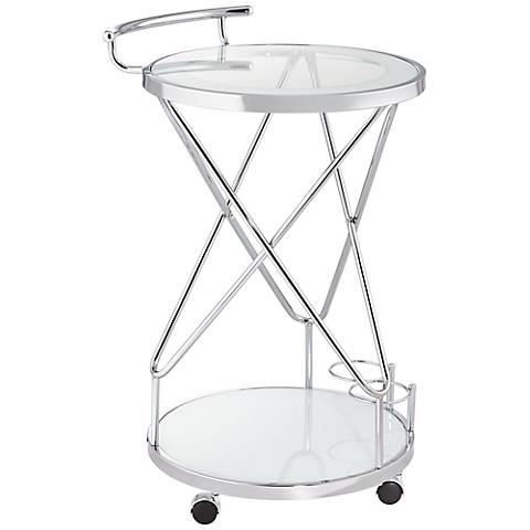 Page Glass and Chrome 2-Shelf Rolling Serving Cart