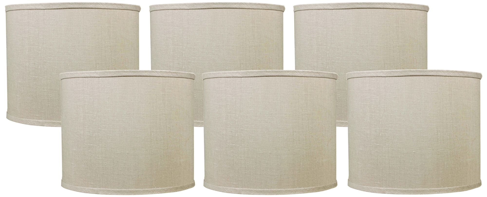 Bone Linen Set Of 6 Drum Lamp Shades 5x5x4.5 (Clip On)