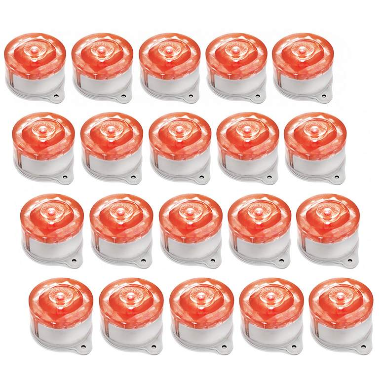 Set Of 20 Red Led Solar Ed Marker Lights