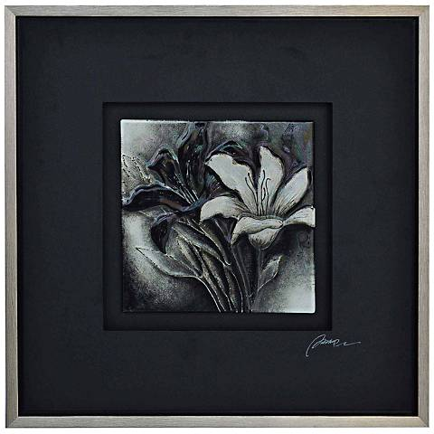 "Crestview B&W Floral I 25 1/2"" Square Canvas Wall Art"