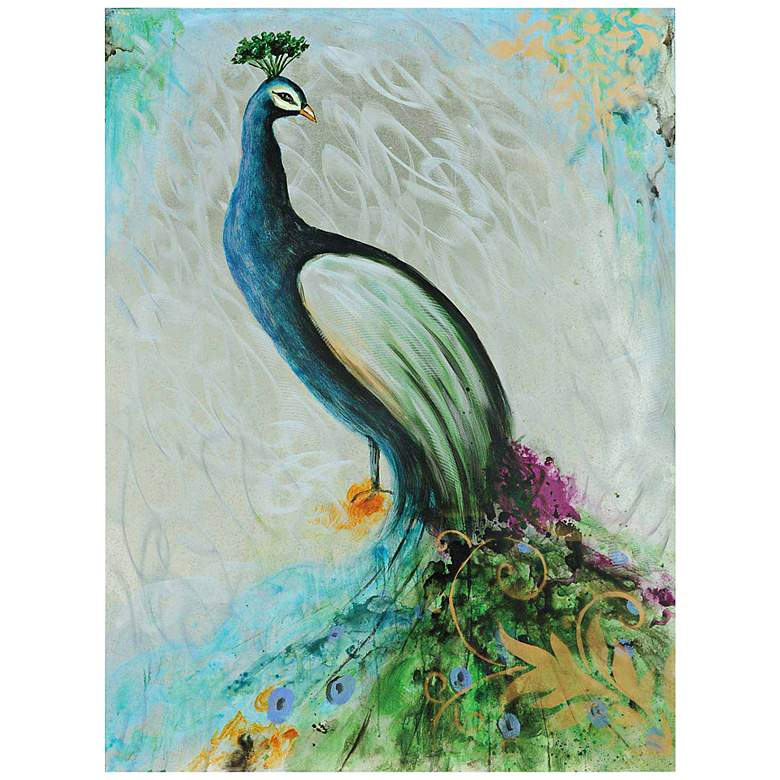 "Crestview Collection Peacock 47"" High Canvas Wall Art"