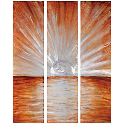 "Crestview Sun Burst 47"" High Canvas Wall Art Set of 3"