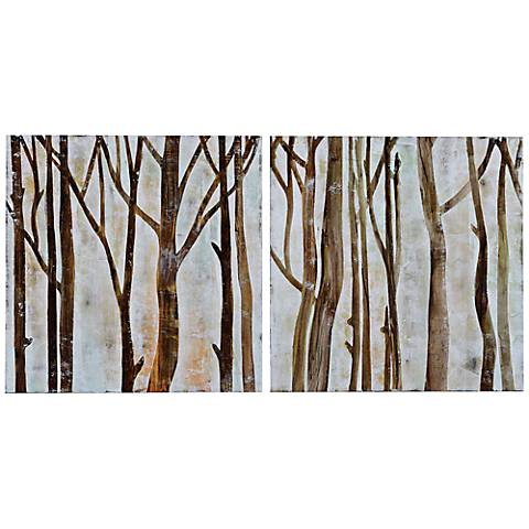 """Crestview Mid Day 20"""" Square Canvas Wall Art Set of 2"""