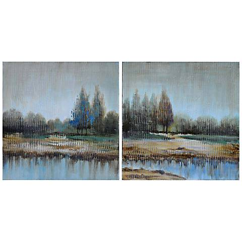 "Crestview Misty Morning 30"" Square Wall Art Set of 2"