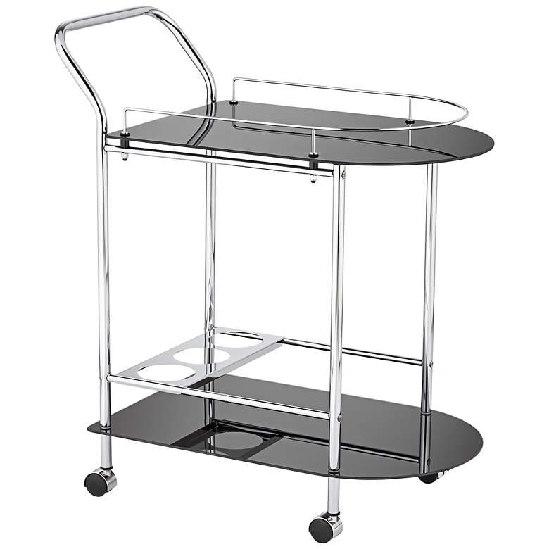 "Finn 28 1/2"" Wide Black Glass - Chrome Rolling Serving Cart"