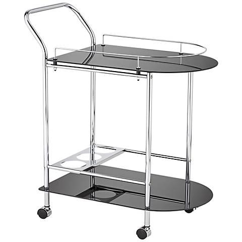 Finn Black Glass and Chrome 2-Shelf Rolling Serving Cart