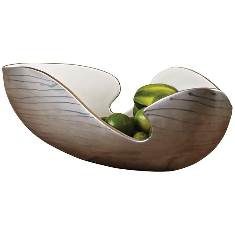 Platinum Silver Striped Decorative Bowl