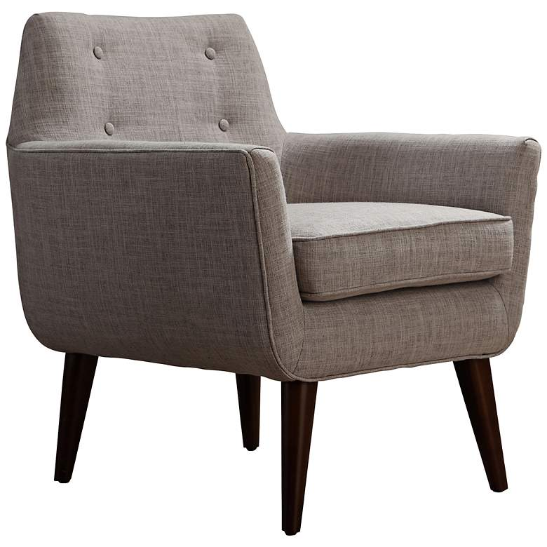 Clyde Button Tufted Beige Linen Modern Armchair