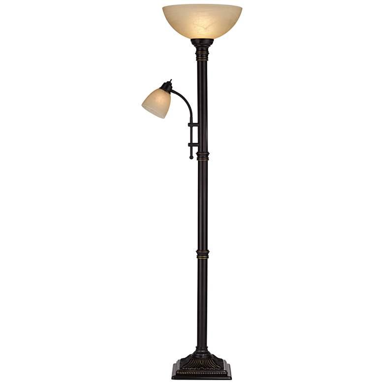 Garver Bronze Torchiere Floor Lamp with Reader Arm