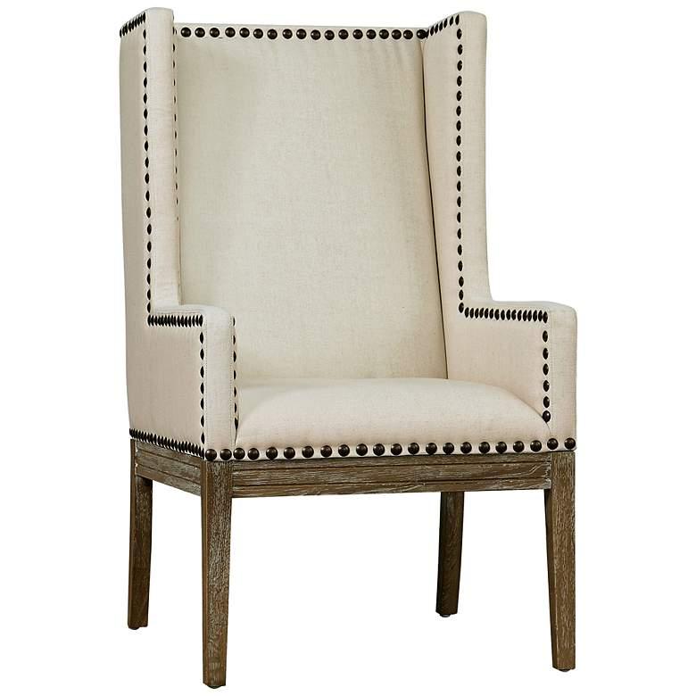 Tribeca Reclaimed Oak Beige Linen Armchair - #8C412 ...