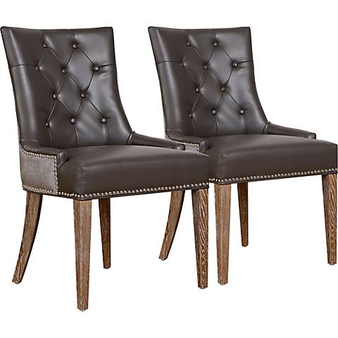Uptown Gray Bonded Leather Dining Chair Set of 2