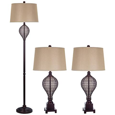 Gortham Oil Rubbed Bronze Floor and Table Lamp Set