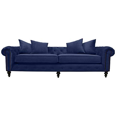 "Latrice 103"" Wide Blue Velvet Hand-Crafted Sofa"