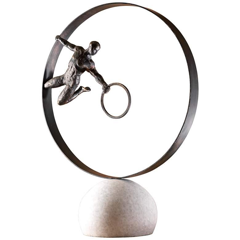 """Circle in Circle 24"""" High Decorative Iron Sculpture"""