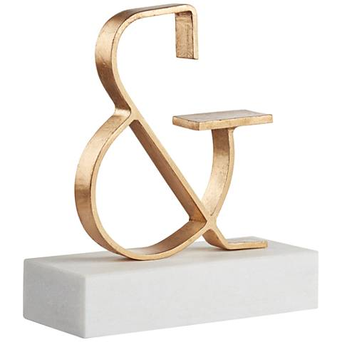 "Gold Decorative 9 3/4"" Ampersand Sculpture"