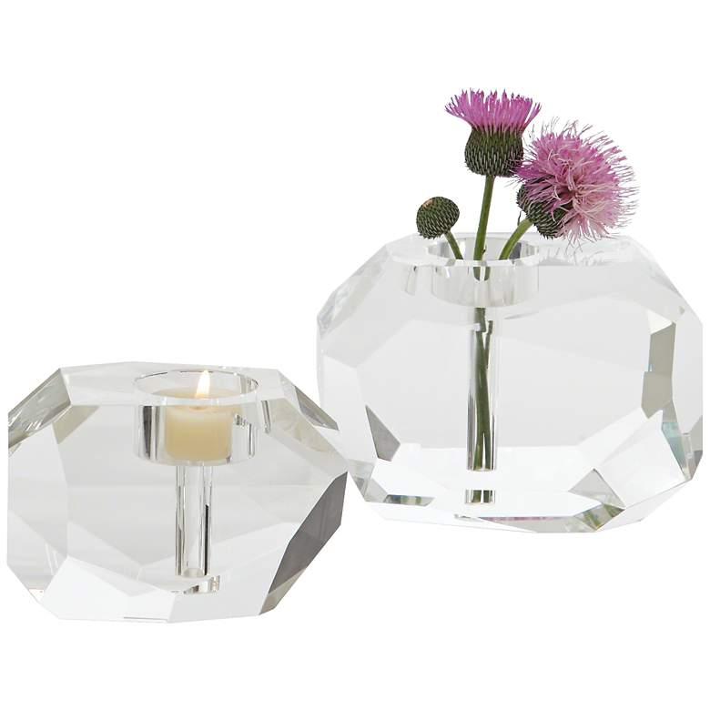 """Gemstone 4 3/4"""" Wide Crystal Tealight Vase Candle Holder"""