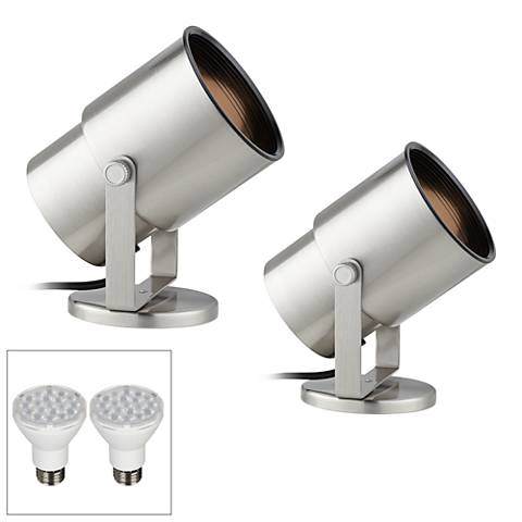 Cord-n-Plug Steel LED Accent Uplight w/ Foot Switch Set of 2