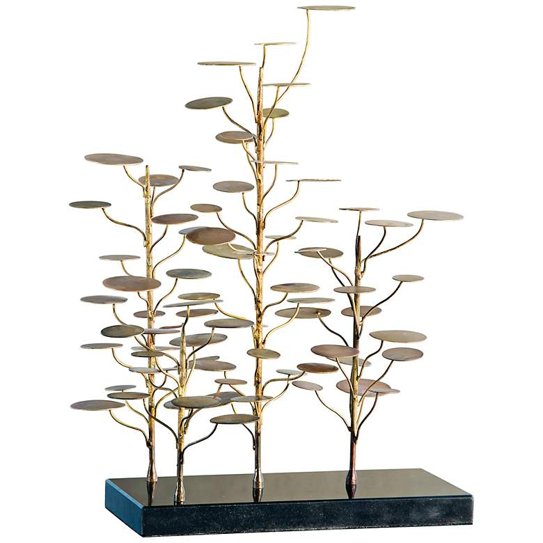 "Eucalyptus Tree 18"" High Gold and Black Modern Sculpture"