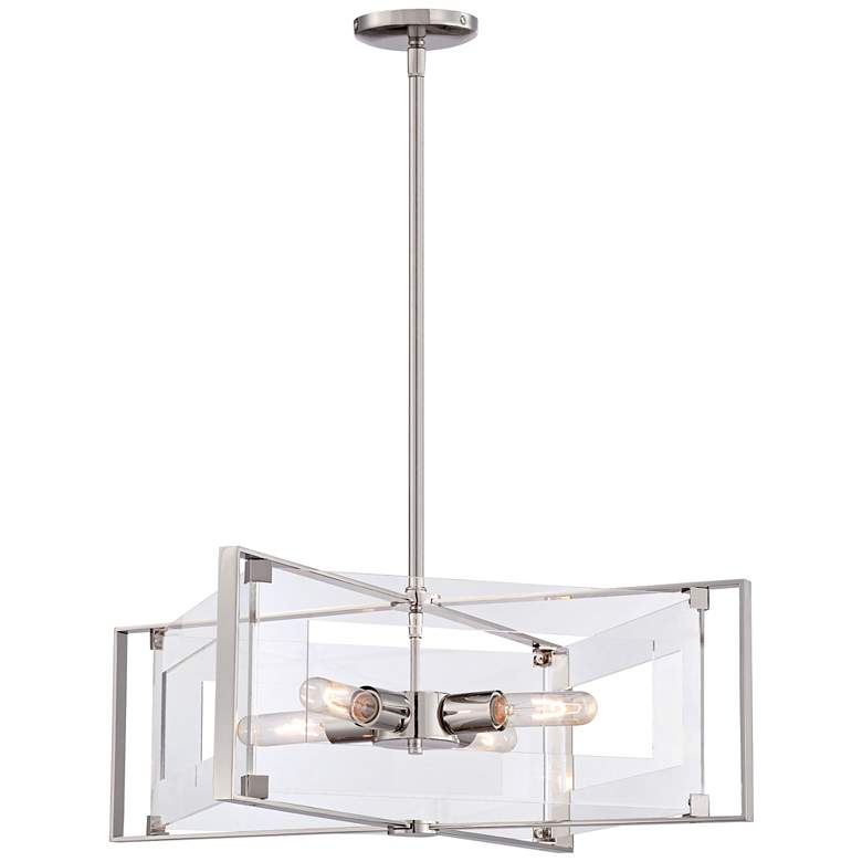 """Crystal Clear 19 3/4""""W Polished Nickel 4-Light Pendant"""