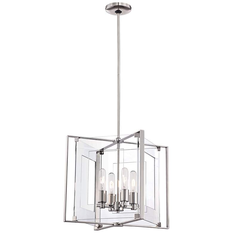 """Crystal Clear 14 3/4""""W Polished Nickel 4-Light Pendant"""