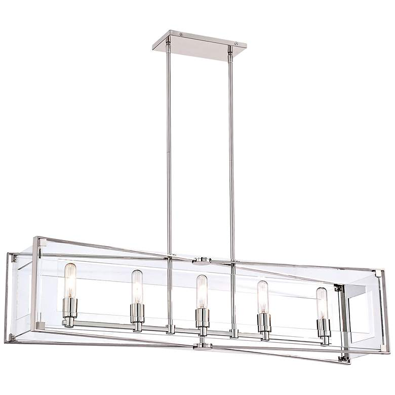 "Crystal Clear 43 1/4""W Nickel Kitchen Island Light Pendant"