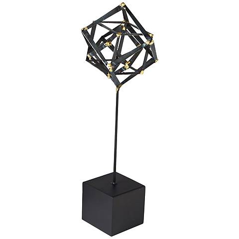 """Tilted Cube 20 1/2"""" High Medium Iron Sculpture"""
