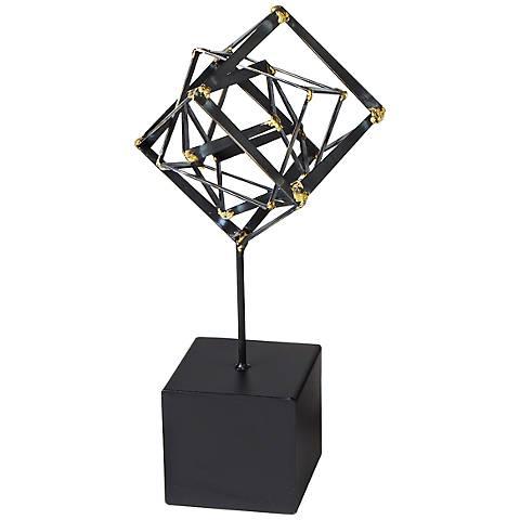 "Tilted Cube 15"" High Small Iron Sculpture"