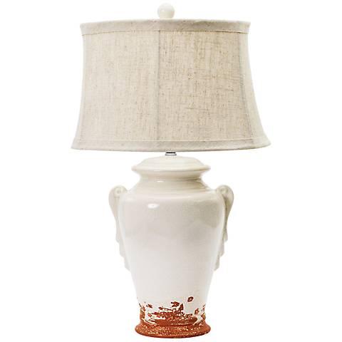 Weho Eggshell and Terracotta Ceramic Table Lamp