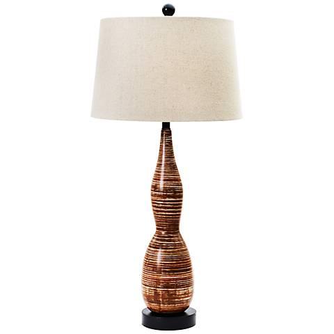Swahi tribal brown ceramic table lamp 8c781 lamps plus swahi tribal brown ceramic table lamp aloadofball Choice Image