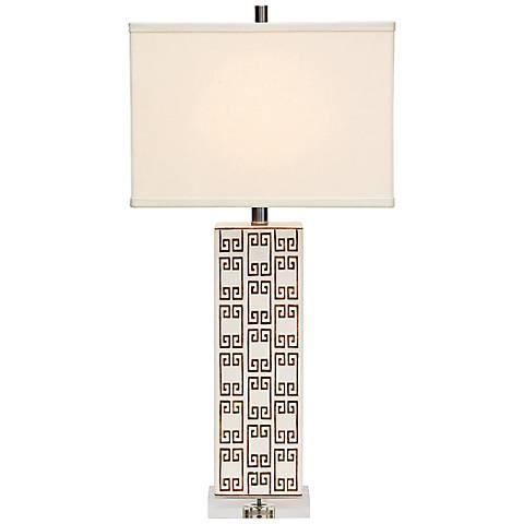 Port 68 Mizner Key Brown and Ivory Porcelain Table Lamp