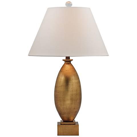 Port 68 Charlie Gold Leaf Ceramic Wood Table Lamp