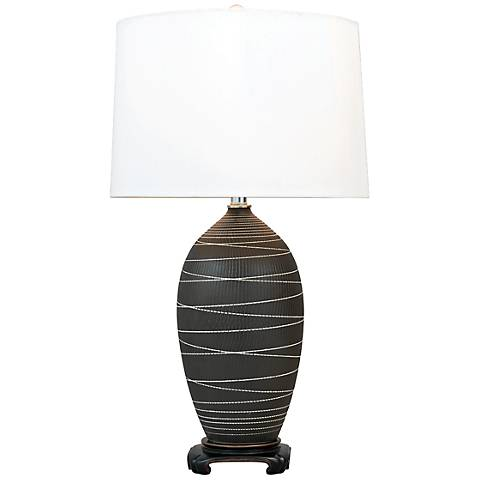 Port 68 Large Saturn Black Porcelain Table Lamp