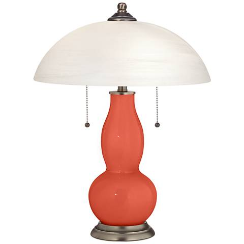 Koi Gourd-Shaped Table Lamp with Alabaster Shade