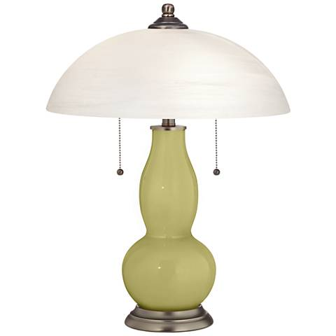 Linden Green Gourd-Shaped Table Lamp with Alabaster Shade