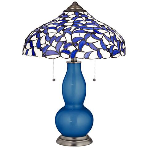 Ocean Metallic Gourd Table Lamp with Iris Blue Shade