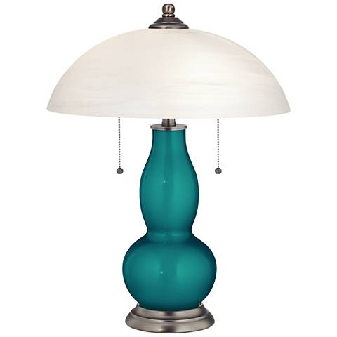 Magic Blue Metallic Gourd-Shaped Table Lamp with Alabaster Shade